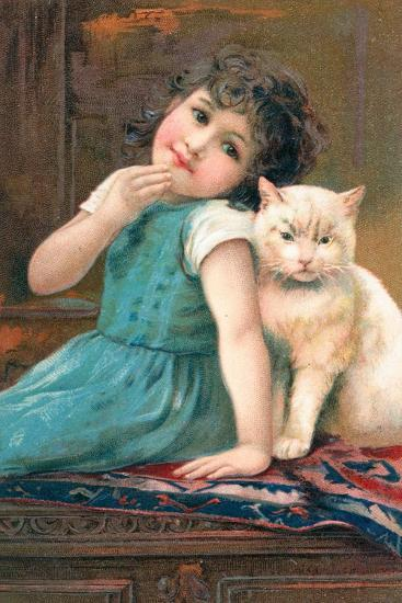 A Young Girl Posing with a Cat--Giclee Print