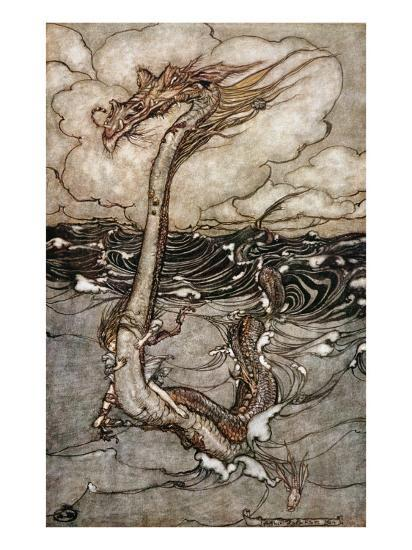 A Young Girl Riding a Sea Serpent, 1904-Arthur Rackham-Giclee Print