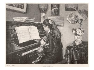 A Young Girl Sits Her Doll on Her Lap and 'teaches' it to Play the Piano--Giclee Print