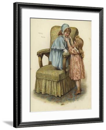 A Young Girl Standing on the Cushion of an Armchair--Framed Giclee Print