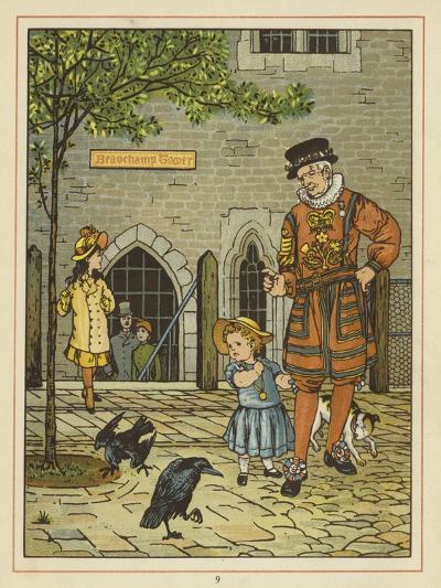 A Young Girl Stands Nervously Beside a Yeoman of the Guard-Thomas Crane-Giclee Print