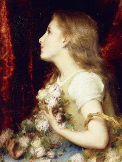 A Young Girl with a Basket of Flowers-Etienne Adolphe Piot-Giclee Print