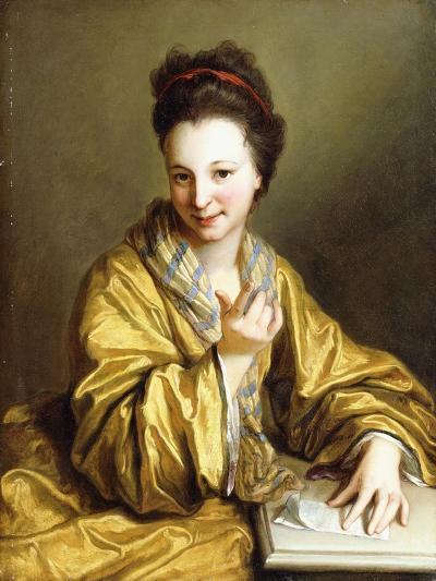 A Young Lady, Wearing a Yellow Robe, Seated at a Table, Beckoning, 1703-Jean Baptiste Santerre-Giclee Print