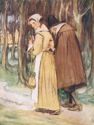 A Young Maiden Glancing at the Scarlet Letter-Hugh Thomson-Giclee Print