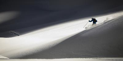 A Young Male Skier Makes Some Powder Turns in the Backcountry Near Mt Herman, Washington-Jay Goodrich-Photographic Print