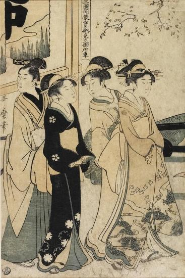 A Young Man and Three Women and Oxcart in Front of Mimeguri Shrine, C. 1781-1806-Kitagawa Utamaro-Giclee Print