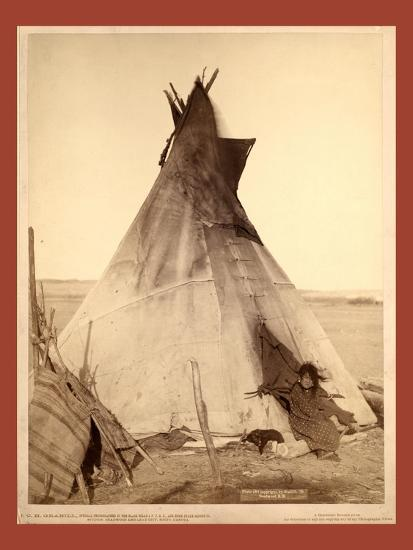 A Young Oglala Girl Sitting in Front of a Tipi-John C. H. Grabill-Giclee Print