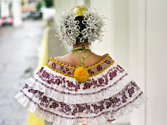 A Young Panamanian Woman Wearing the Traditional Pollera-Kike Calvo-Photographic Print