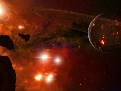 A Young Ringed Planet with Glowing Lava and Asteroids in the Foreground-Stocktrek Images-Photographic Print