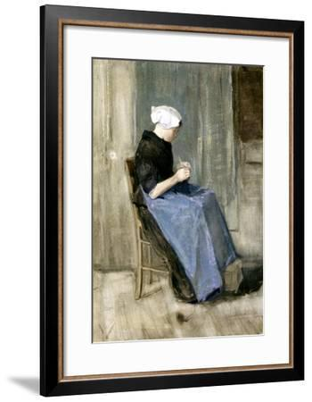 A Young Scheveningen Woman Knitting-Vincent van Gogh-Framed Giclee Print