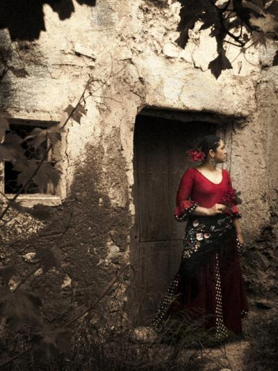 A Young Spanish Woman Wearing Traditional Flamenco Dress Standing in a Doorway to an Old Building-Steven Boone-Photographic Print