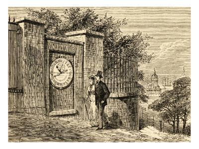 A Young Well-Dressed Couple Admire the Magnetic Clock Outside Greenwich Royal Observatory--Giclee Print