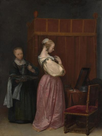 A Young Woman at her Toilet with a maid, c.1650-51-Gerard ter Borch or Terborch-Giclee Print