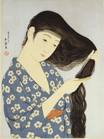 A Young Woman Combing Her Hair-Ioki Bunsai-Giclee Print