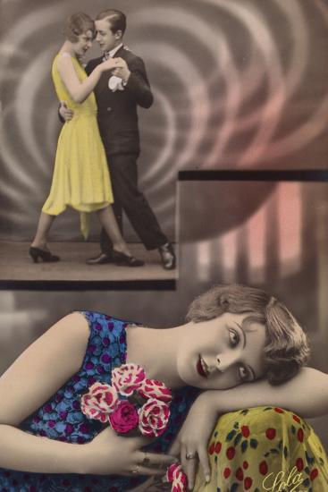 A Young Woman Daydreams About Dancing with a Man--Photographic Print