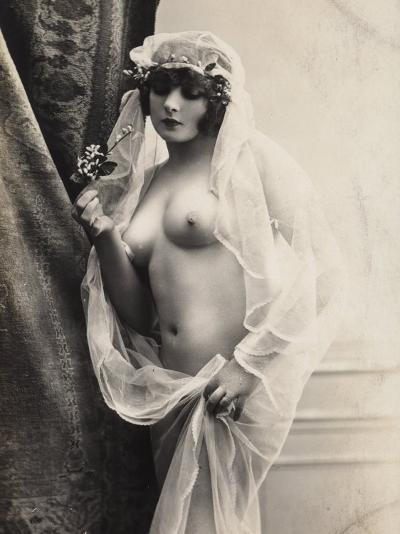 A Young Woman Posing Naked: a Veil Covers Her Hair and Comes Down Her Body--Photographic Print