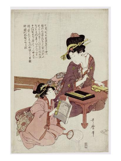 A Young Woman Seated at a Desk, Writing, a Girl with a Book Looks On-Kitagawa Utamaro-Giclee Print
