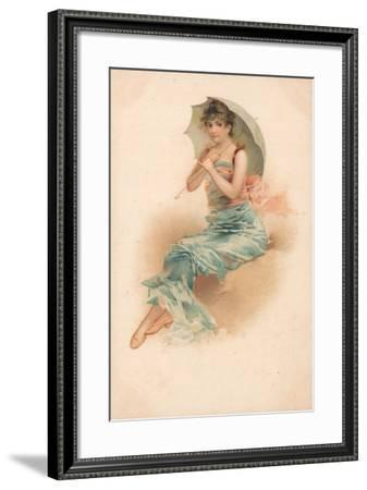 A Young Woman Sheltering Beneath a Parasol--Framed Giclee Print