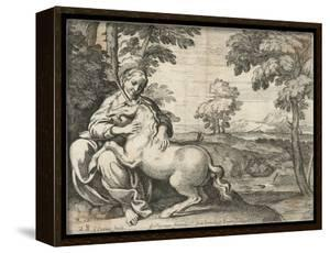 A Young Woman Sits in a Wood Caressing a Unicorn