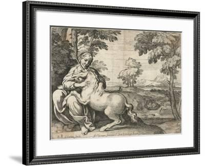 A Young Woman Sits in a Wood Caressing a Unicorn--Framed Giclee Print