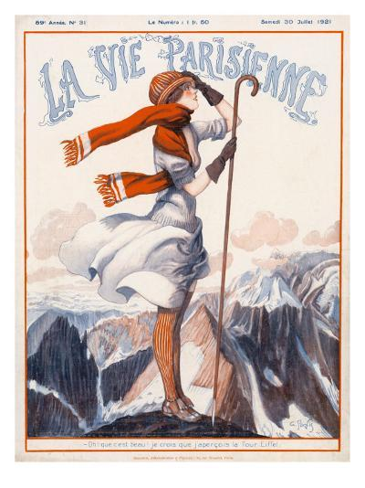 A Young Woman Stands on a Summit Amid a Mountain Range--Giclee Print