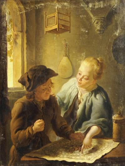 A Youth and a Young Woman Playing the Jeu de l'Oie in an Interior, 1743-Louis De Moni-Giclee Print