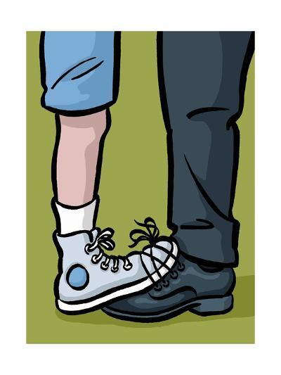 A youth and adult with their shoes tied together - Cartoon-Christoph Niemann-Premium Giclee Print