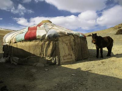 A Yurt with a Colorful Roof in Bayan Olgiy, Mongolia-Ed George-Photographic Print