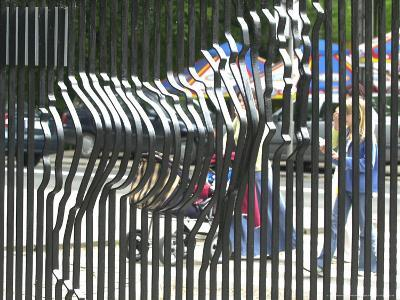 A Zebra on the Front Gate of the 75-Year-Old Zoo in Warsaw, Poland,June 24, 2003-Czarek Sokolowski-Photographic Print