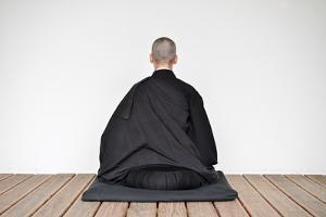 A Zen Buddhist Nun Is Practicing Zen-Meditation (Zazen)