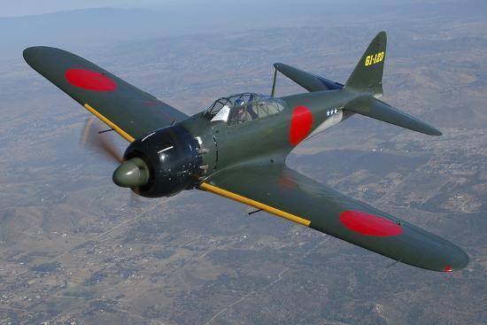 A6M Japaneese Zero Flying over Chino, California-Stocktrek Images-Photographic Print