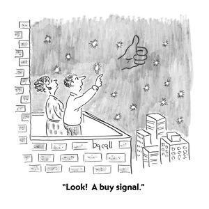 """""""Look!  A buy signal."""" - Cartoon by Aaron Bacall"""