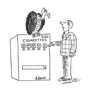 Man about to put money in cigarette machine with vulture perched on top. - Cartoon by Aaron Bacall