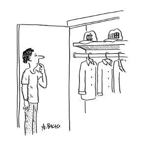 Man standing in front of closet deciding whether to wear 'Apple' or 'Micro? - Cartoon by Aaron Bacall