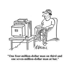 """""""One four-million-dollar man on third and one seven-million-dollar man at ?"""" - Cartoon by Aaron Bacall"""