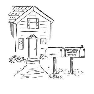 Two mail boxes in front of house.  One says 'Mail' the other says 'Softwar? - Cartoon by Aaron Bacall