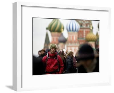 A Backpacker Near St. Basil's Cathedral in Red Square