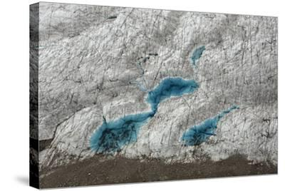 Aerial View of Glacial Pools on Ruth Glacier in Denali National Park and Preserve