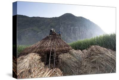 Men Stand on a Thatched Roof of a Hut, the Bale Mountains Are in Back