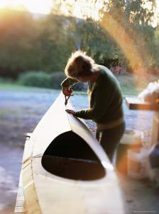 Boat Builder Working on a Stich and Glue Kayak, Washington State, USA by Aaron McCoy