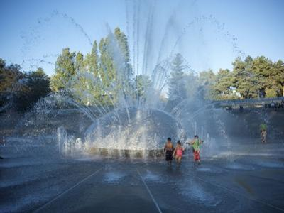 Children Play in the Fountain at Seattle Center, Seattle, Washington State, USA