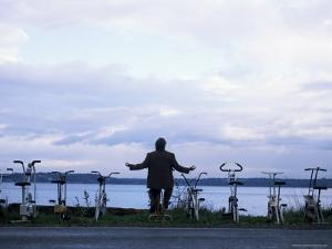 Exercising Beside the Water, Vashon Island, Washington State by Aaron McCoy