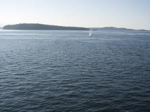 Sailboat on the Puget Sound Passes Blake Island, Washington State, United States of America by Aaron McCoy