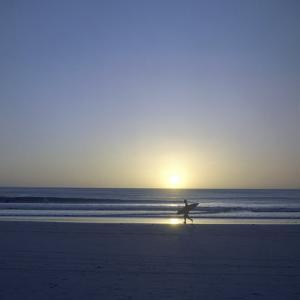 Silhouette of Surfer Walking on Avellanas Beach, Nicoya Peninsula, Costa Rica, Central America by Aaron McCoy