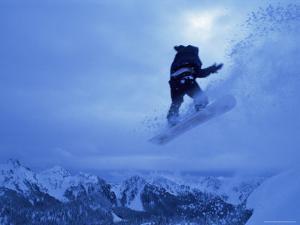 Snowboarder Heads Down, Paradise Area, Mount Rainier, Washington State, USA by Aaron McCoy