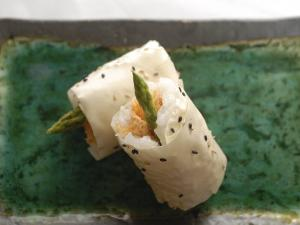 Sushi Appetizer of Salmon and Asparagas in Rice and Sesame Parcel, Japan by Aaron McCoy