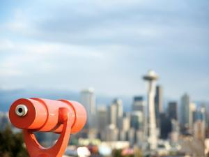Telescope with View of Seattle Skyline in Distance, Kerry Park, Seattle, Washington State, USA by Aaron McCoy