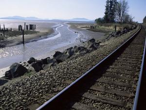 Train Tracks Leading to Bellingham, with San Juan Islands in Distance, Washington State by Aaron McCoy