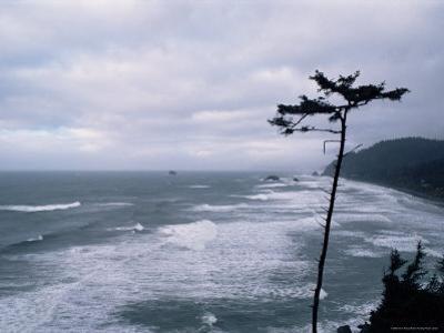Waves Crashing into Rocks on the Pacific Coast, Oregon, United States of America, North America