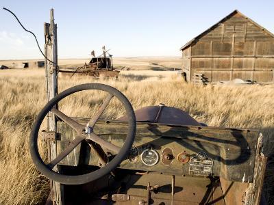 Abandoned Car and Farmstead Near White Bear, Saskatchewan, Canada-Pete Ryan-Photographic Print